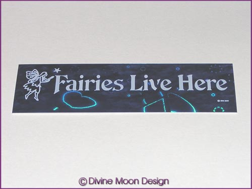 Holographic Sticker (2B) Blue MINI - 'Fairies Live Here'